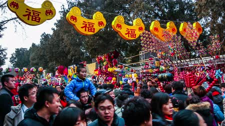 ditan : Beijing,China-Feb 6, 2014: All kinds of toy stands and the visitors at Ditan temple fair during Spring Festival in Beijing, China Stock Footage