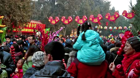 ditan : Beijing,China-Feb 6, 2014: Lots of visitors holding toys at Ditan temple fair during Spring Festival in Beijing, China