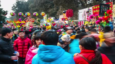 ditan : Beijing,China-Feb 6, 2014: All kinds of toy stands and the crowded visitors at Ditan temple fair during Spring Festival in Beijing, China Stock Footage