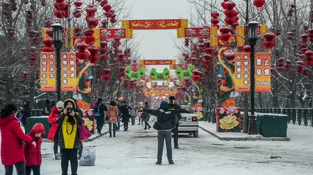 ditan : Beijing,China-Feb 7, 2015: People take photo in front of the decorated archway and the red lanterns at Ditan park during Spring Festival in Beijing, China Stock Footage