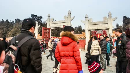 ditan : Beijing,China-Feb 6, 2014: Thousands of people wander the Temple of Earth during Spring Festival in Beijing, China