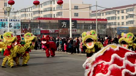 aslan : Yu County,China-Feb 12, 2014: The Chinese traditional Shehuo-dragon dancing on the square in Yu County, China Stok Video