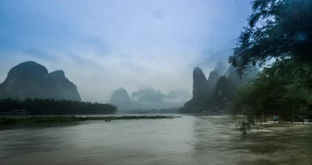 guangxi : The boat on Li river and mountains in Guilin,China