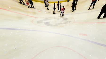 patim : Shenyang,China-Aug 1,2014:The special effect of the people of skating in ice stadium.