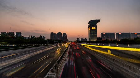 város : Beijing,China-Oct 5,2014: The night view of North Fourth Ring Road near National stadium Park in Beijing, China