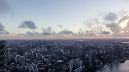 yangtze : Bird view of the busy city in the sky over Pudong CBD,Shanghai, China