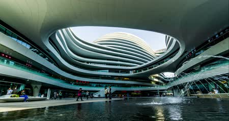 pression : The Fountain at Galaxy Soho Shopping Mall In Beijing, China. Stock Footage