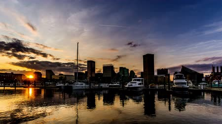 Észak amerika : At sunset,the downtown and Inner Harbor, Baltimore. Timelapse.