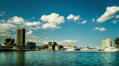 binnenstad : Modern buildings and boats in Inner Harbor, Baltimore. Timelapse