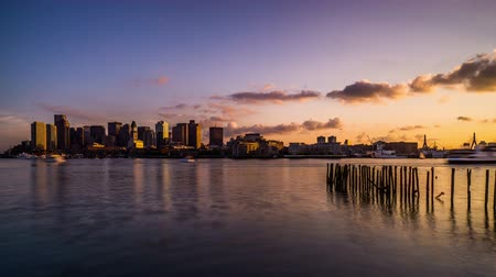 kazık : The sunset on Charles River, Boston, USA Stok Video