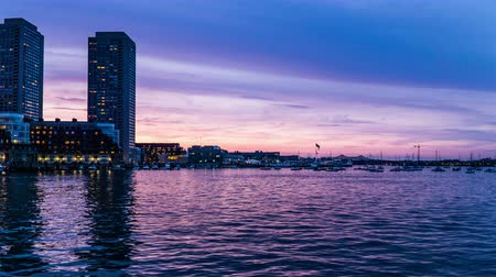 Бостон : From sunset to night, the modern buildings near Charles River, Boston, USA