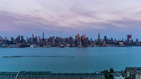 império : At sunset,the panoramic view of modern buildings in Manhattan, New York City, NY