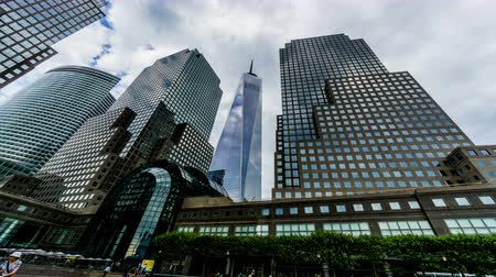 visitatori : Low angle of One World Trade Center and modern buildings, New York, USA