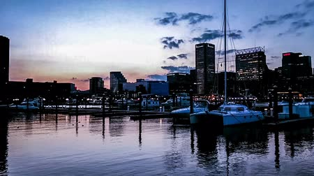 binnenstad : The panoramic view of Inner Harbor at evening, Baltimore Stockvideo