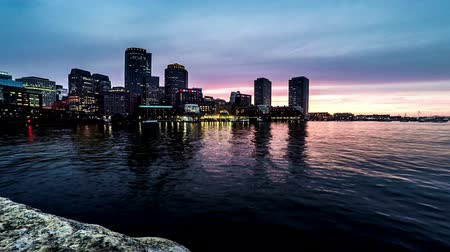 Бостон : Timelapse of modern buildings at sunset,Boston