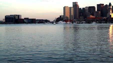 Бостон : At sunset,the panoramic view of China Town on the far shore, Boston