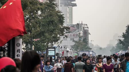 посетитель : In bad weather,lots of visitors shopping at the Wangfujing Pedestrian Street, Beijing, China Стоковые видеозаписи