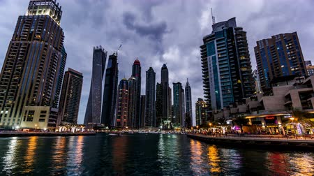 cayan tower : From dusk to night, the amazing night view of the Dubai Marina(Cayan Tower), UAD