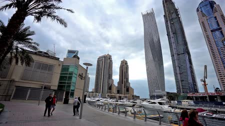 cayan tower : Panoramic view of the visitors walk at Dubai Marina(Cayan Tower), UAE
