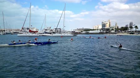 kano : Dubai, UAE-Jan 28,2016: The kayak exercise in Dubai Marina, UAE Stok Video