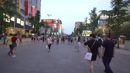 shoppingmall : Lopend bij de beroemde Wangfujing-winkelstraat, Peking, China. Stockvideo