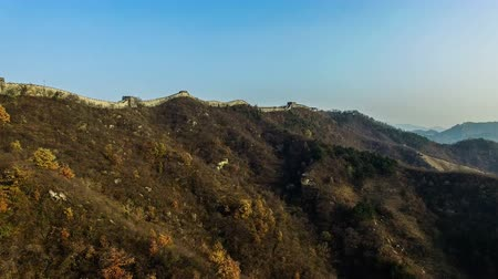 draak : The Great Wall and plants in Beijing Autumn, China Stockvideo