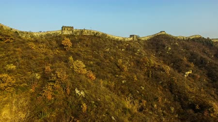 draak : De Mutianyu Great Wall en planten in Beijing Autumn, China
