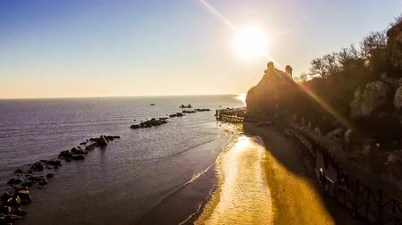 pigeon nest : Aerial view of charming beach and shoal in Beidaihe scenic spot, Hebei, China