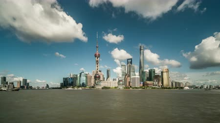 жемчуг : Timelapse of landmark in the Bund of Shanghai, China Стоковые видеозаписи