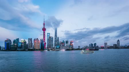 pudong : Timelapse of landmark of Shanghai at night, China