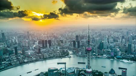 xangai : Timelapse and birds view of landmark in Shanghai at sunset, China Stock Footage