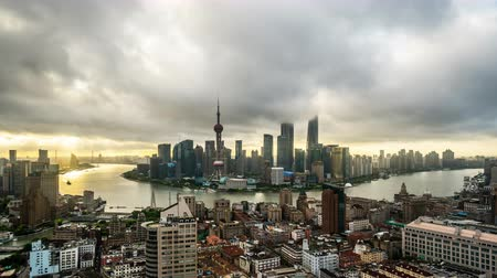 huangpu river : Timelapse and birds view of landmark in Shanghai at sunset, China Stock Footage