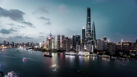 pudong : Timelapse of landmark in the Bund of Shanghai at night, China Stock Footage