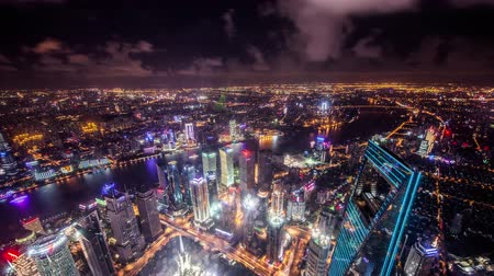 huangpu river : Timelapse and birds view of landmark in Puxi and Pudong CBD,Shanghai, China