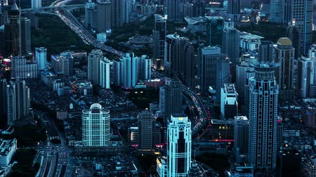 pudong : Timelapse and birds view of modern buildings in Shanghai, China Stock Footage