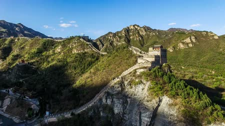 slagboom : Luchtfoto van de Juyongguan Great Wall, Beijing, China Stockvideo