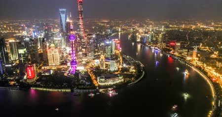 gyöngyszem : Aerial view of the skyline and downtown of Shanghai, China Stock mozgókép