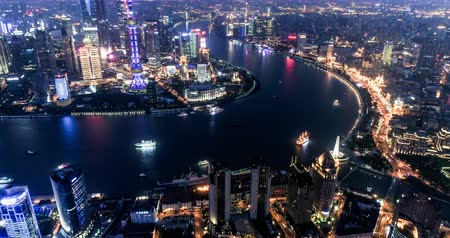huangpu river : Aerial view of the skyline and downtown of Shanghai, China Stock Footage