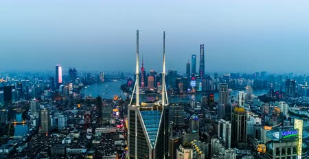 central business district : Aerial view of the skyline and downtown of Shanghai, China Stock Footage