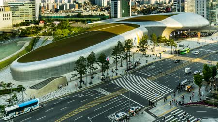 seoul : Timelapse of the Dongdaemun Design Plaza and the traffic, Seoul, Korea Stock Footage