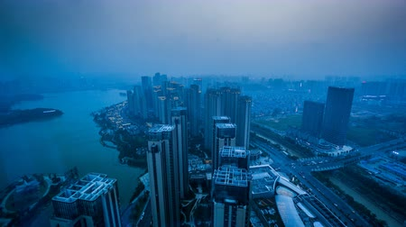 ködös : From sunset to evening, the bird view of Changsha harbor in Hunan province, China