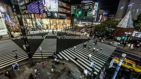 tokyo station : Timelapse and bird view of the Ginza street view,Tokyo, Japan Stock Footage