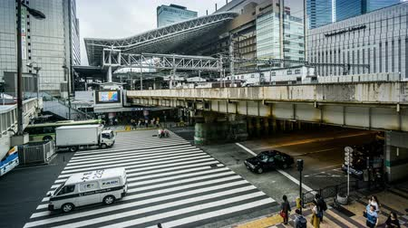 osaka : Timelapse of the people and traffic near the Osaka station, Japan Stock Footage
