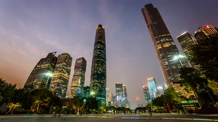 cbd : From sunset to night, the splendid view of Zhujiangxincheng CBD Square, Guangzhou, China