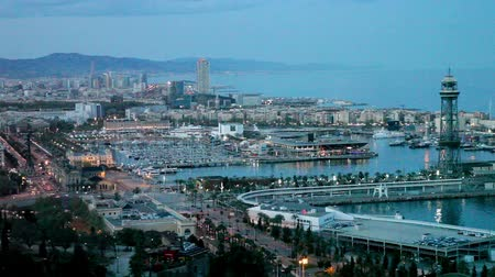 Барселона : Top panoramic view of seaside part of Barcelona   in night. Spain Стоковые видеозаписи