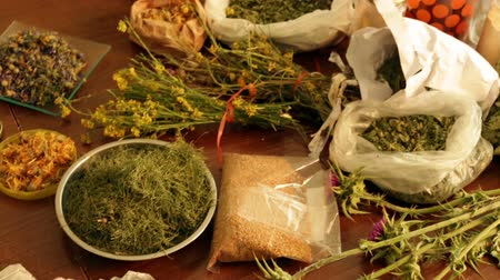 herbal : dried herbs at table in home ready for brews