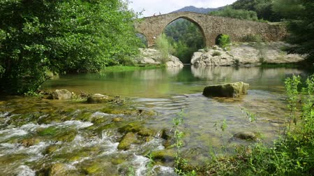 cisza : Mountain river with  stone bridge in  Pyrenees. Llobregat, Catalonia