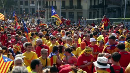 converge : BARCELONA, SPAIN - SEPTEMBER 11, 2014: People at  National Day of Catalonia (Diada Nacional de Catalunya) in Barcelona Stock Footage