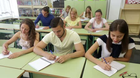synopsis : happy adult students  in classroom