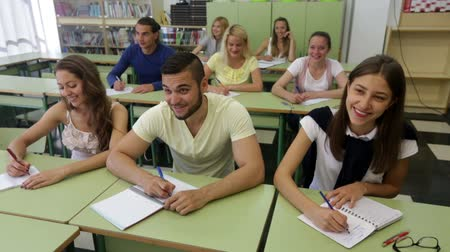 synopsis : Attentive adult students writing down summary in classroom